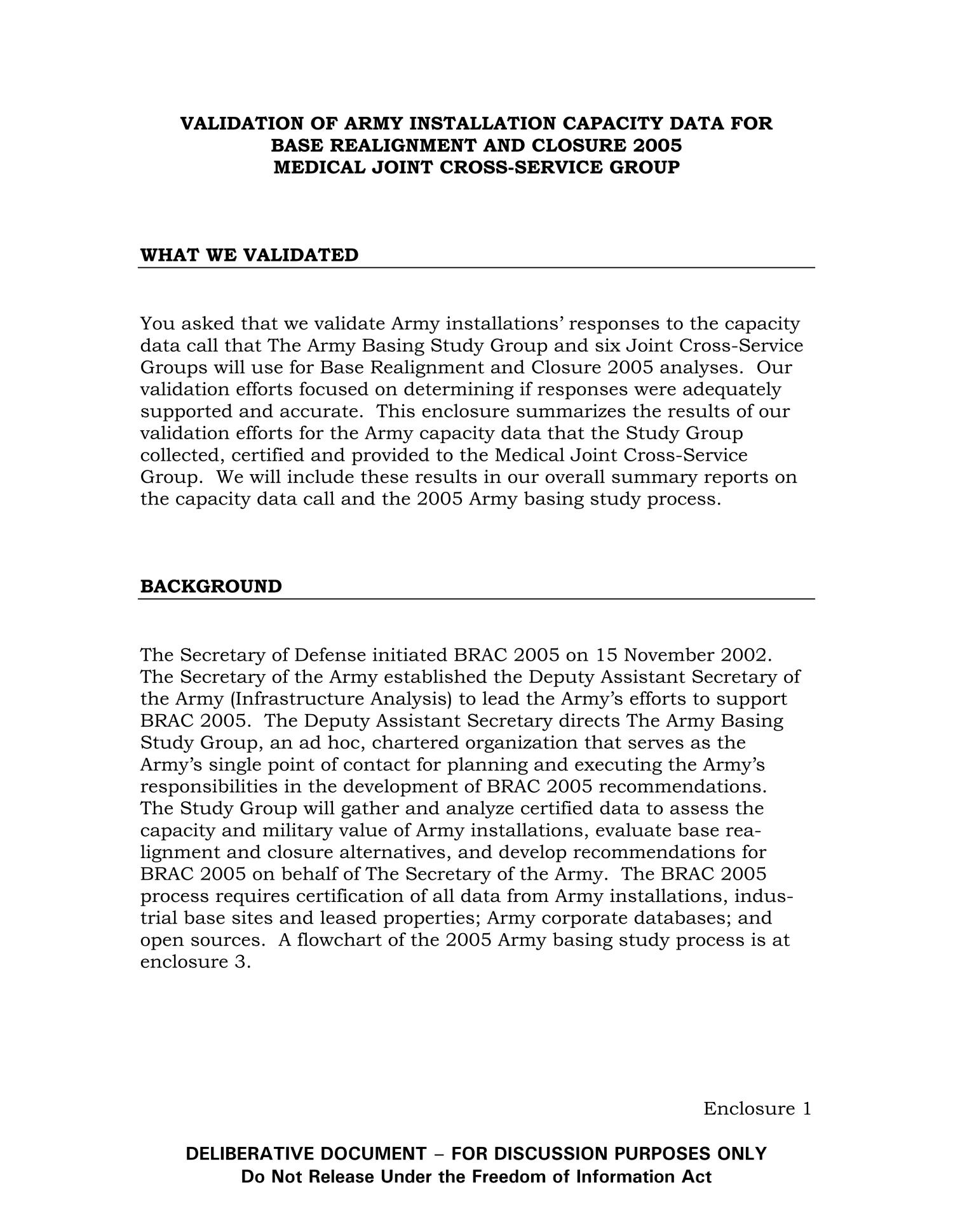 MEMORANDUM FOR The Director, The Army Basing Study Group Validation of Army Installation Capacity Data for Base Realignment and Closure 2005, Medical Joint Cross-Service Group dated 5 Aug 2004                                                                                                      [Sequence #]: 3 of 9