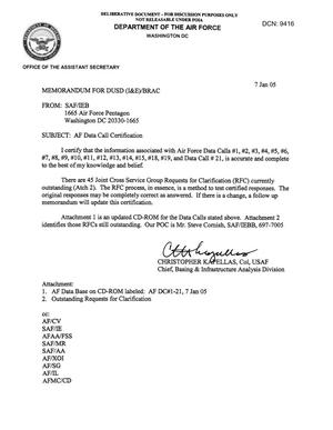 Primary view of object titled 'AF Data Call Certification, Memo to DUSD dtd 7 Jan 05'.