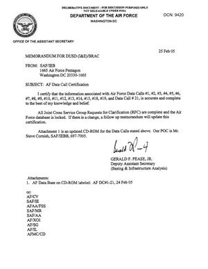 Primary view of object titled 'AF Data Call Certification, Memo to DUSD dtd 25 Feb 05'.