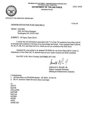 Primary view of object titled 'AF Input, Data Call #1, memo to DUSD dtd 4 Oct 04'.