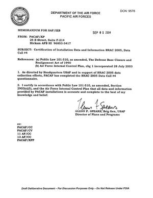 Primary view of object titled 'Certification Letter, Data Call 4, dtd 1 Sep 04'.