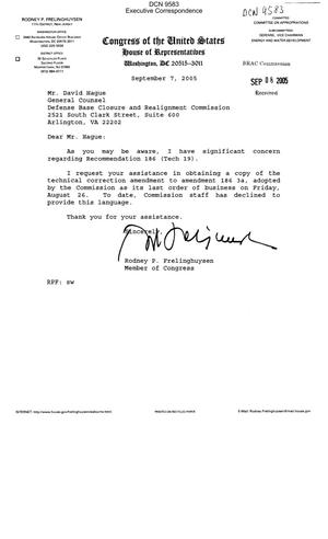 Primary view of object titled 'Executive Correspondence – Letter dtd 09/07/05 to BRAC Commission General Counsel David Hague from Representative Rodney Frelinghuysen (11th, NJ)'.