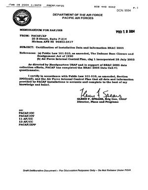 Primary view of object titled 'Certification Ltr, dated 13 Feb 04'.