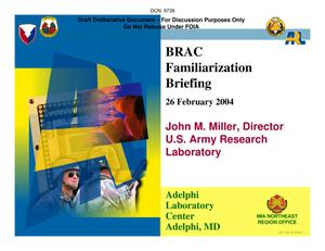 Primary view of object titled 'Adelphi Laboratory Center Installation Familiarization Briefing - 26 February, 2004'.