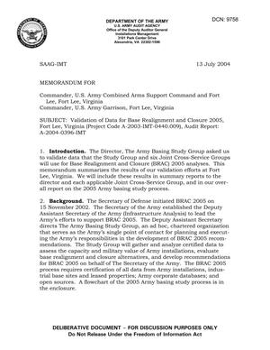 Primary view of object titled 'Memorandum: Validation of Data for Base Realignment and Closure 2005, Fort Lee, Virginia (Project Code A-2003-IMT-0440.009), Audit Report: A-2004-0396-IMT - dtd 13 July 2004'.