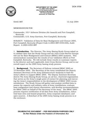 Primary view of object titled 'Memorandum: Validation of Data for Base Realignment and Closure 2005, Fort Campbell, Kentucky (Project Code A-2003-IMT-0440.030), Audit Report: A-2004-0393-IMT - dtd 12 July 2004'.