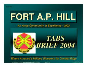 Primary view of object titled 'Fort A. P. Hill Installation Familiarization Briefing (Part 1 of 2)- January 2004'.