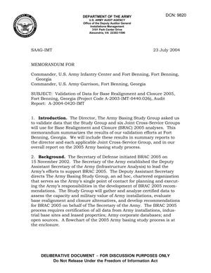 Primary view of object titled 'Memorandum: Validation of Data for Base Realignment and Closure 2005, Fort Benning, Georgia (Project Code A-2003-IMT-0440.026), Audit Report: A-2004-0420-IMT - DTD 23 July 2004'.