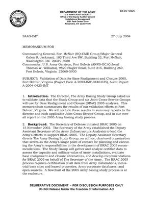 Primary view of object titled 'Memorandum: Validation of Data for Base Realignment and Closure 2005, Fort Belvoir, Virginia (Project Code A-2003-IMT-0440.035), Audit Report: A-2004-0425-IMT - DTD 27 July 2004'.
