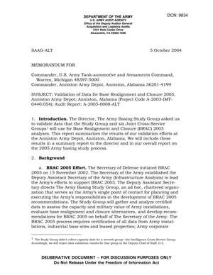 Primary view of object titled 'Memorandum: Validation of Data for Base Realignment and Closure 2005, Anniston Army Depot; Anniston, Alabama (Project Code A-2003-IMT-0440.054); Audit Report: A-2005-0008-ALT - DTD 5 October 2004'.