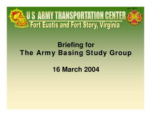 Primary view of object titled 'Fort Eustis Installation Familiarization Briefing (11 Mar 04)'.