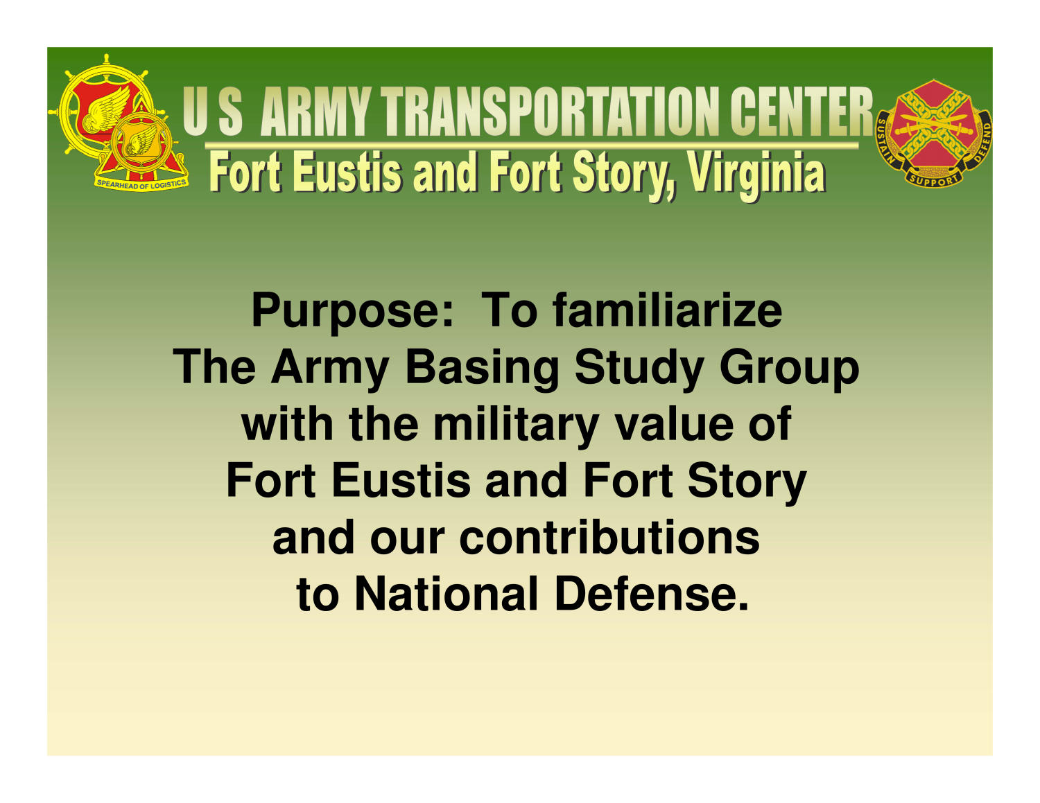 Fort Eustis Installation Familiarization Briefing (11 Mar 04)                                                                                                      [Sequence #]: 2 of 85