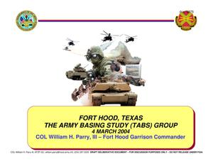 Primary view of object titled 'Fort Hood Installation Familiarization Briefing (4 March 04)'.