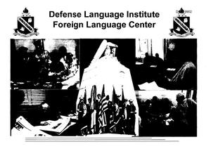 Primary view of object titled 'Defense Language Institute Foreign Language Center Presentation - Regional Hearing - Monterey, CA'.