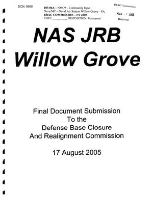 Primary view of object titled 'Naval Air Station Joint Reserve Base Willow Grove Final Document Submission'.