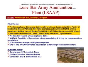 Primary view of object titled 'Lone Star AAP Installation Familiarization Briefing (20 May 04)'.