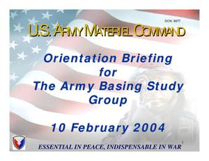 Primary view of object titled 'MACOM Familiarization Briefings - HQ AMC Overview-10 Feb 04'.