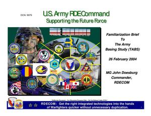 Primary view of object titled 'MACOM Familiarization Briefings - RDECOM Familiarization Briefing'.