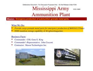 Primary view of object titled 'Mississippi AAP Installation Familiarization Briefing (20 May 04)'.