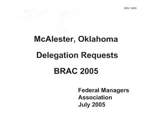 Primary view of object titled 'Community Input - McAlester Army Ammunition Plant - Delegation Requests - July 2005'.