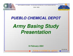 Primary view of object titled 'Pueblo CD Installation Familiarization Briefing (10 Feb 04)'.