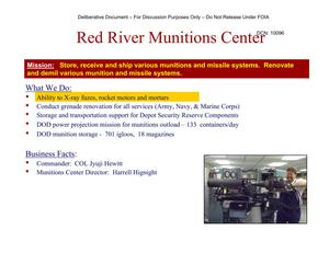 Primary view of object titled 'Red River AD Installation Familiarization Briefing (20 May 04)'.