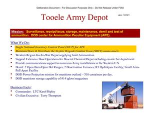 Primary view of object titled 'Tooele AD Installation Familiarization Briefing (20 May 04)'.