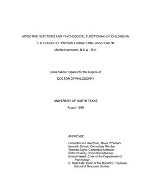 Affective Reactions and Psychosocial Functioning in the Course of Psycho-Educational Assessment