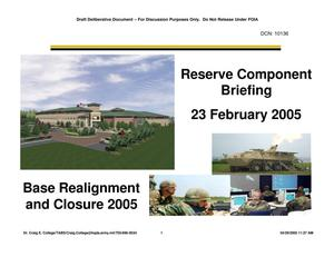 Primary view of object titled 'Army Joint Coordination - NORTHCOM RC PAT BRIEFING (050223)'.