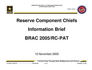 Primary view of object titled 'RESERVE COMPONENTS CHIEFS BRIEFING2 (031110f)'.