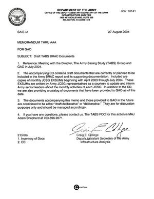 Primary view of object titled 'Army Joint Coordination - Memorandum: GAO Submission - 040827 - 27 Aug 04'.