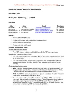 Primary view of object titled 'Joint Action Scenario Team Meeting Minutes – 4 April 2005'.