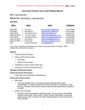 Primary view of object titled 'Joint Action Scenario Team (JAST) Meeting Minutes – 1 November 2004'.