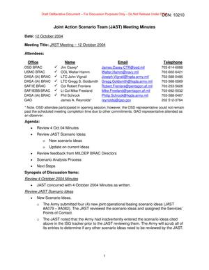 Primary view of object titled 'Joint Action Scenario Team (JAST) Meeting Minutes – 12 October 2004'.
