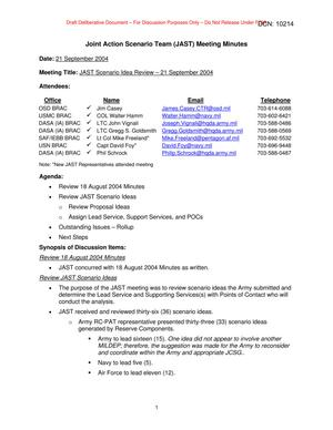 Primary view of object titled 'Joint Action Scenario Team (JAST) Meeting Minutes – 21 September 2004'.