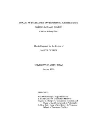 Toward an Ecofeminist Environmental Jurisprudence: Nature, Law, and Gender