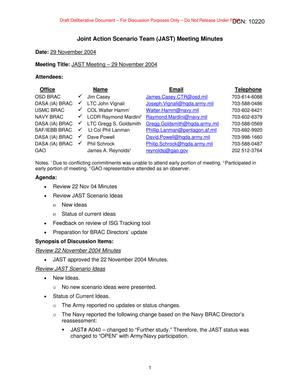 Primary view of object titled 'Joint Action Scenario Team (JAST) Meeting Minutes –  29 November 2004'.