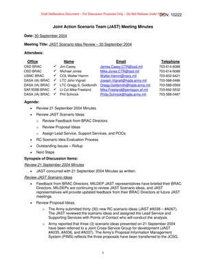 Primary view of object titled 'Joint Action Scenario Team (JAST) Meeting Minutes – 30 September 2004'.