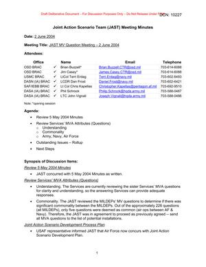 Primary view of object titled 'Joint Action Scenario Team (JAST)  MV Question Meeting Minutes – 2 June 2004'.