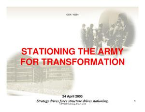 Primary view of object titled 'STATIONING THE ARMY FOR TRANSFORMATION - Trusted Agent Training Session'.
