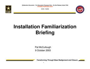 Primary view of object titled 'Installation Familiarization Briefing - Trusted Agent Training Session 2'.