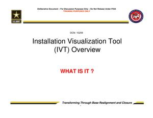 Primary view of object titled 'Installation Visualization Tool (IVT) Overview - Trusted Agent Training Session 2'.