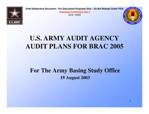 Primary view of object titled 'TABS Training 101 - AAA - Audit Plans for BRAC 2005'.