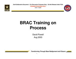 Primary view of object titled 'TABS Training 101 - BRAC Training on Process'.