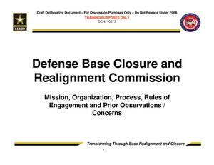 Primary view of object titled 'TABS Training 101 - Defense Base Closure and Realignment Commission'.