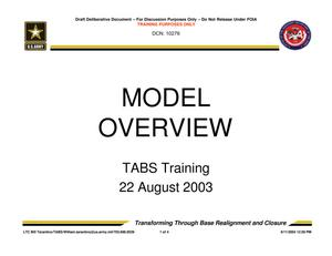Primary view of object titled 'TABS Training 101 - Model Overview'.