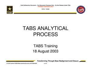 Primary view of object titled 'TABS Training 101 - TABS Analytical Process'.