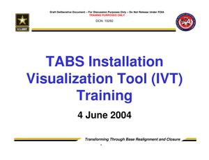 Primary view of object titled 'TABS Training 201 - Session 7 - Installation Visualization Tool (IVT)'.