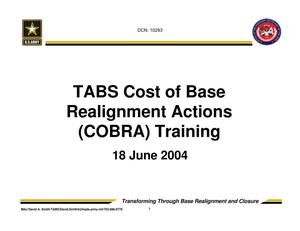Primary view of object titled 'TABS Training 201 - Session 8 - Cost of Base Realignment Actions (COBRA)'.