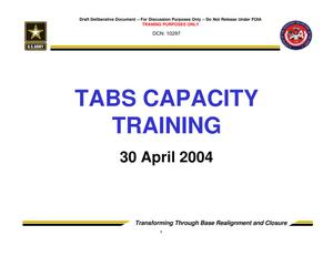 Primary view of object titled 'TABS Training 201 - Session 3 - TABS Capacity'.